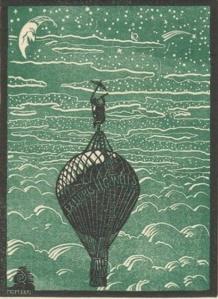Ex libris H.G Wells; diseño: Robert Saldo.