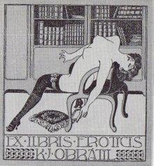 Ejemplo de ex libris erótico.
